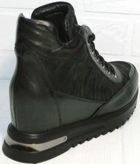 Сникерсы ботильоны кожаные Evromoda 965 Black