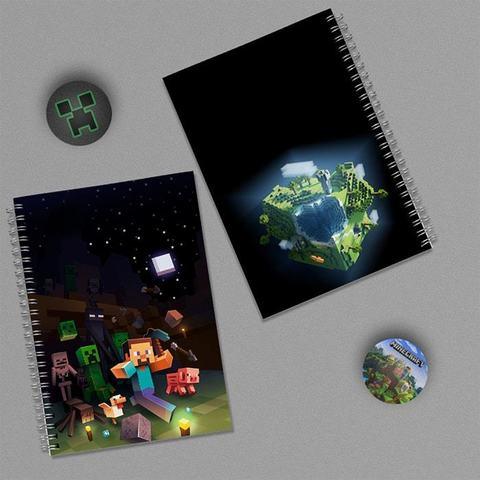 Мир Майнкрафта: набор из 2 тетрадей и 2 значков