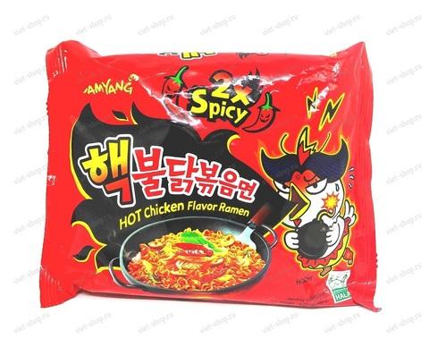 Корейская пшеничная лапша со вкусом курицы, очень острая Hot Chiken flavor ramen 2x spicy, 140 гр.