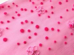 Вышивка на сетке, 16 см, ярко-розовый и бирюза, левая сторона, м
