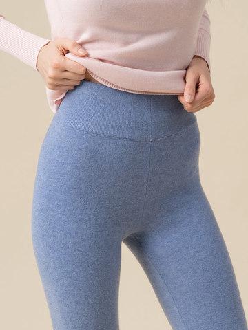 Женские брюки голубого цвета из 100% кашемира - фото 5