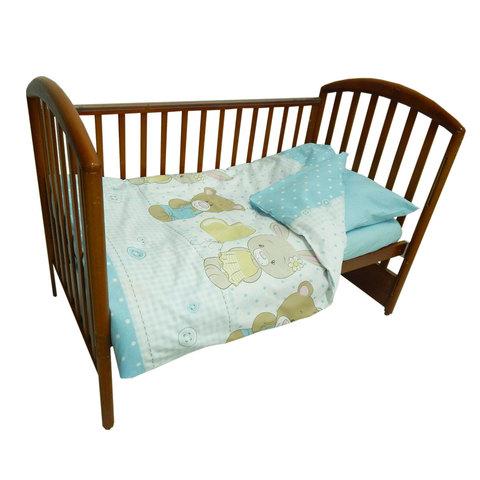 Папитто. Комплект постельного белья с простыней на резинке Игрушки из перкаля, голубой
