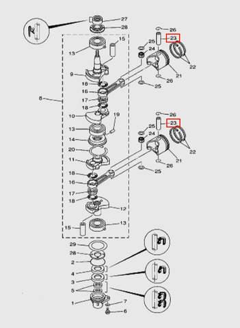 Палец поршневой  для лодочного мотора T15, OTH 9,9 SEA-PRO (3-23)