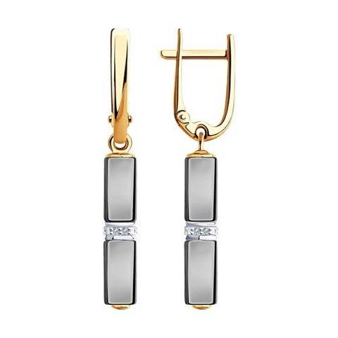 6025126 - Серьги из золота с бриллиантами и керамическими вставками