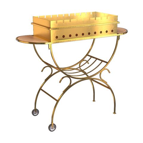 Мангал с 2 столиками, дровницей, на колесах GOLD, BOYSCOUT