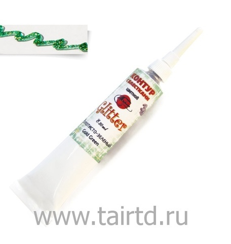 Контур с блестками  Таир Золотисто-зеленый