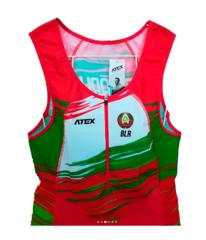 Гоночный национальный комбинезон ATEX с символикой РБ для спортсменов по гребле на байдарках и каноэ (2019)