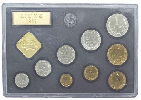 Набор регулярных монет СССР 1987 года ЛМД с жетоном (Твердый)