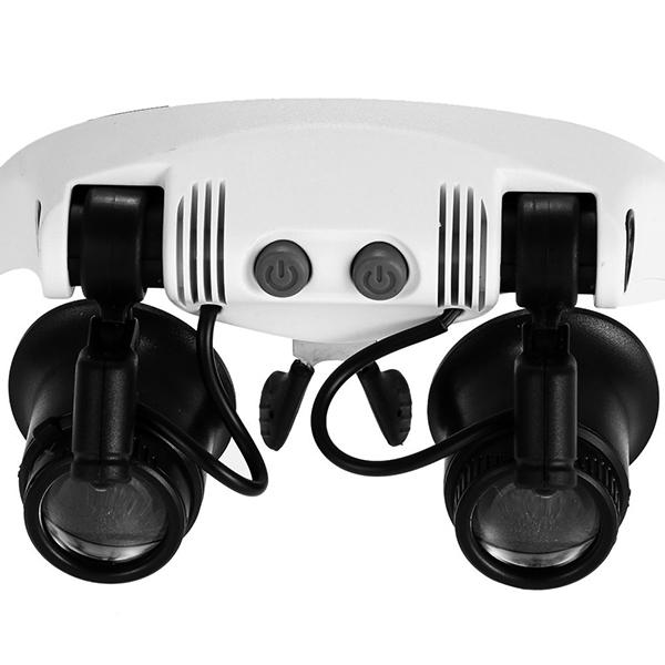 Лупа налобная 10x/15x/20x/25x (очки) с подсветкой (2 LED) Kromatech MG9892G-3A