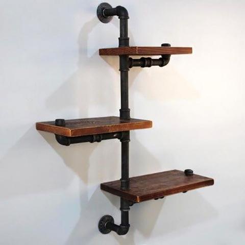 Настенные полки из дерева и труб в Индустриальном стиле (лофт)