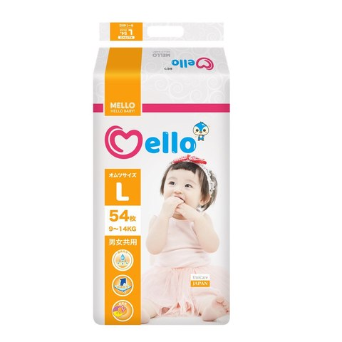 Подгузники Mello размер L (9-14 кг) 54 шт