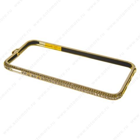 Бампер Heimeiren металический для iPhone 6s/ 6 стразы золото