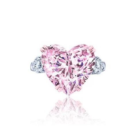 Кольцо из серебра с розовыми цирконом в форме сердца в стиле KoJewelry