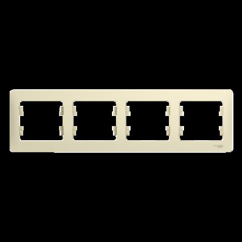 Рамка на 4 поста, горизонтальная. Цвет Бежевый. Schneider Electric Glossa. GSL000204