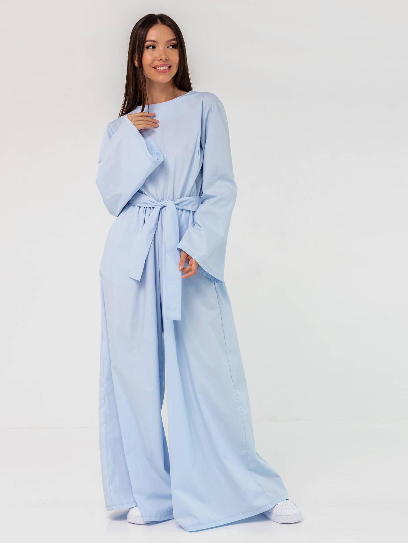 Платье-комбинезон хлопковое голубое YOS