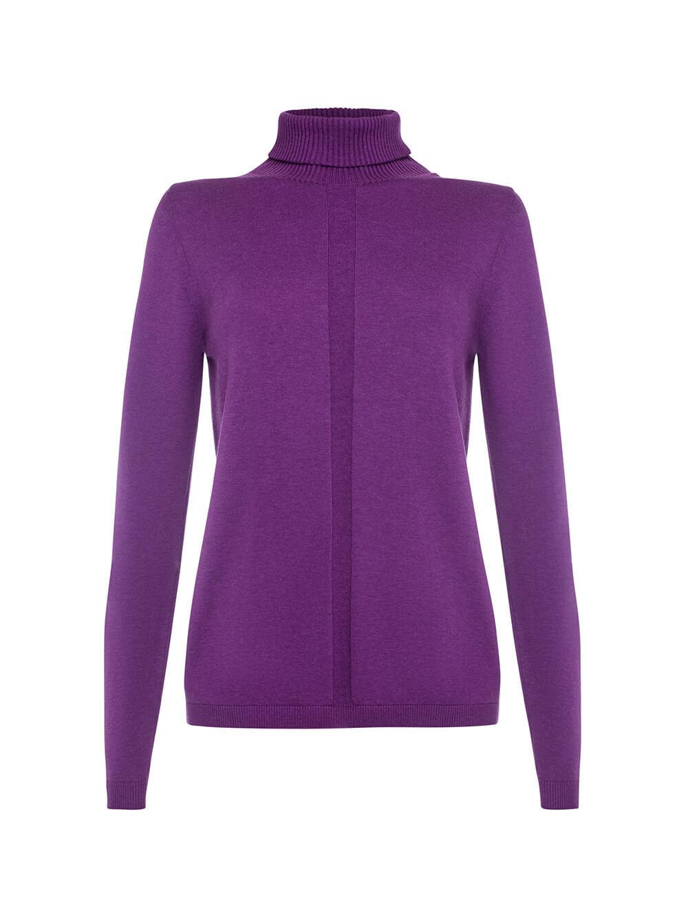 Женский джемпер лилового цвета из шерсти и шелка - фото 1