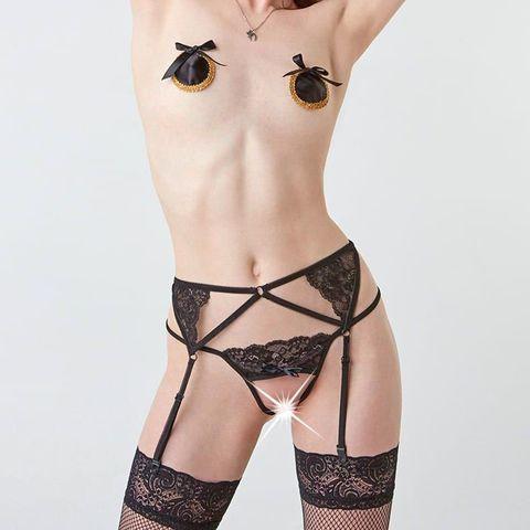 Тонкие черные подвязки для чулок