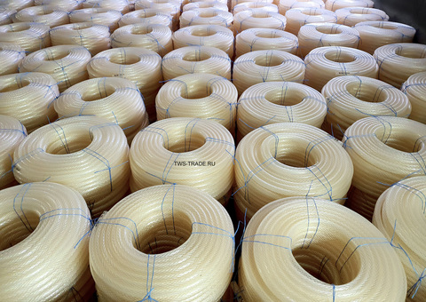 Шланг Ø 12мм армированный прозрачный силиконовый толщина стенки 3 мм (100 м в бухте)