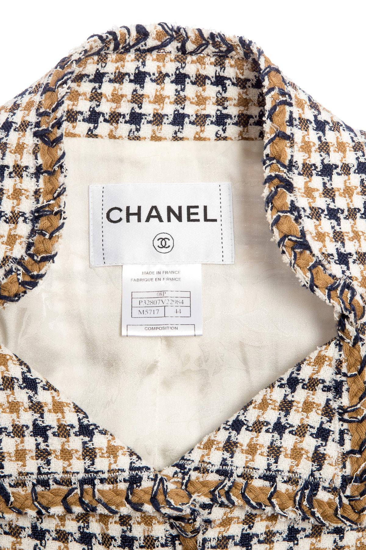 Элегантный бежевый твидовый жакет от Chanel, 44 размер