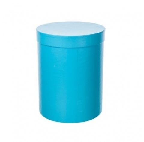 Коробка подарочная круглая, D15хH20 см, цвет:голубой