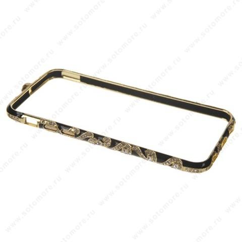 Бампер Heimeiren металический для iPhone 6s/ 6 стразы золото с черным