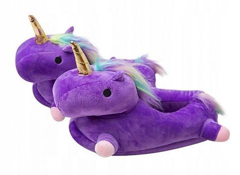 Тапочки единороги фиолетовые детские