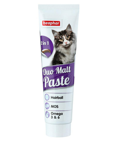 Beaphar Duo Malt Paste паста для выведения шерсти из кишечника с олигосахаридами и Омега-6 100 г
