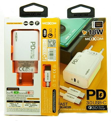 СЗУ Moxom HC-25 + кабель Type-C to Lightning PD3.0/QC3.0 (1xUSB-C, 3A, 18W) white