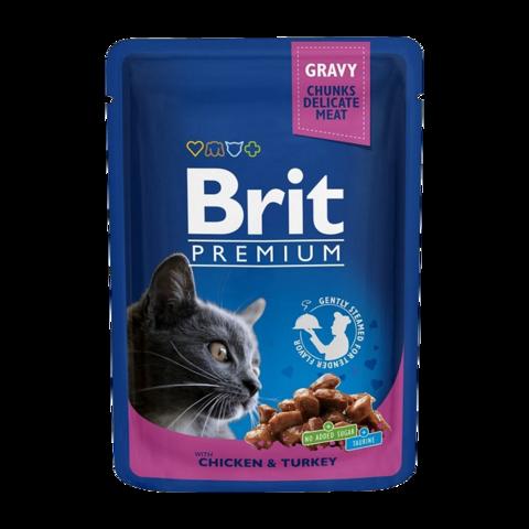 Brit Premium Cat Консервы для кошек с курицей и индейкой (пауч)