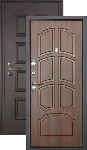 Дверь входная L-5 стальная, орех, 2 замка, фабрика Арсенал