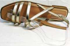 Блестящие босоножки с тонкими ремешками женские Wollen M.20237D ZS Gold.