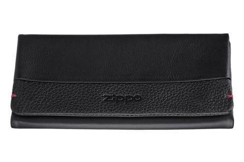 Кисет для табака Zippo, чёрный, натуральная кожа, 17x2x8,5 см