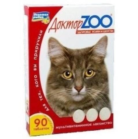 Доктор ZOO лакомство для кошек Здоровье кожи и шерсти Биотин 90таб