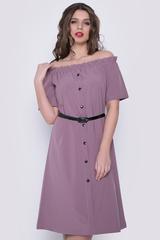 <p>Модное платье со спущенной линией плеча, на резинке. По переду имитация планки с пуговицами. Платье свободного кроя. Ремешок в подарок от ELZA.&nbsp;</p>