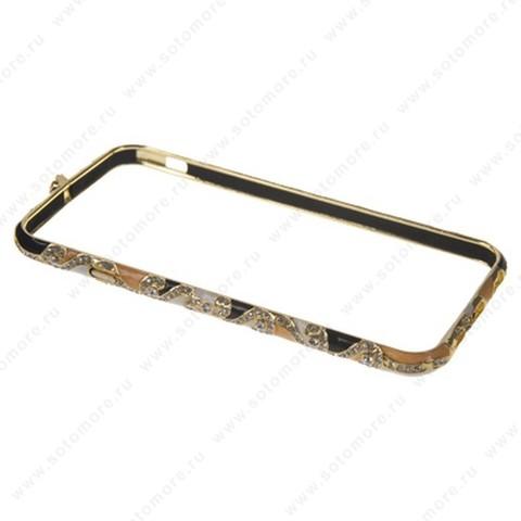 Бампер Heimeiren металический для iPhone 6s/ 6 стразы золото с оранжевым, черным, белым