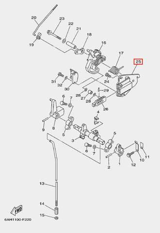 Кронштейн дросселя для лодочного мотора F20 Sea-PRO (18-25)