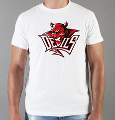 Футболка с принтом НХЛ Нью-Джерси Девилз (NHL New Jersey Devils) белая 005