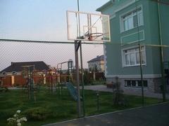 Стойка баскетбольная Г-обр уличная стационарная бетонируемая вынос 1.2 м (щит 1800х1050мм поликарбонат 10мм, + кольцо + сетка)