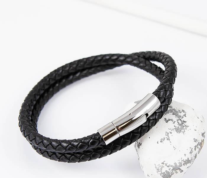 BM513-1 Мужской браслет двойной шнур черного цвета (21 см)