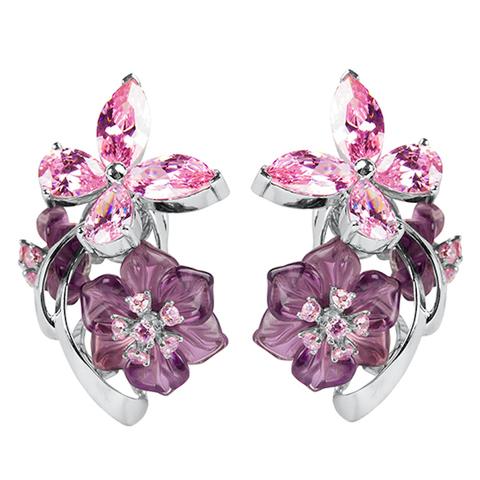 Серьги из серебра с цветами из фианита и кварца Арт.2201фрр