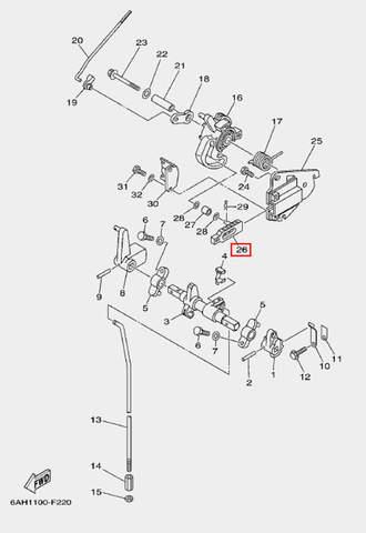 Плунжер дросселя для лодочного мотора F20 Sea-PRO (18-26)