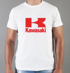 Футболка с принтом Кавасаки (Kawasaki) белая 0016