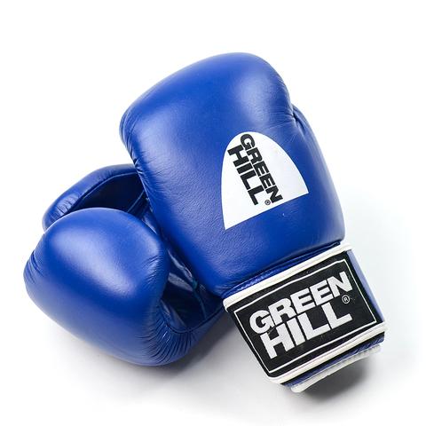 Перчатки боксерские, кожа, GYM BGG-2018, Green Hill синие