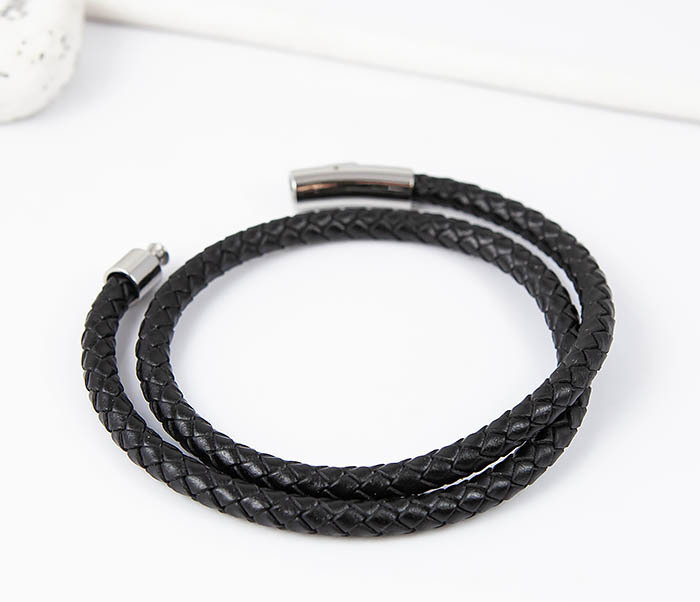 BM513-1 Мужской браслет двойной шнур черного цвета (21 см) фото 03