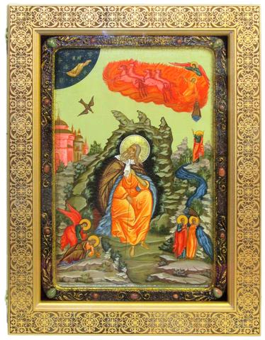 Большая Живописная икона Пророк Илия Фесвитянин 42х29см на кипарисе в березовом киоте