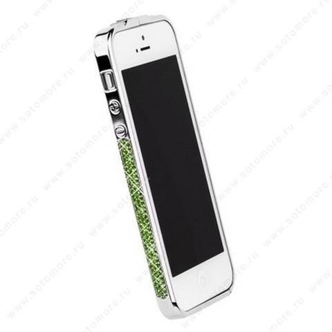 Бампер Newsh металлический для iPhone SE/ 5s/ 5C/ 5 со стразами салатовыми