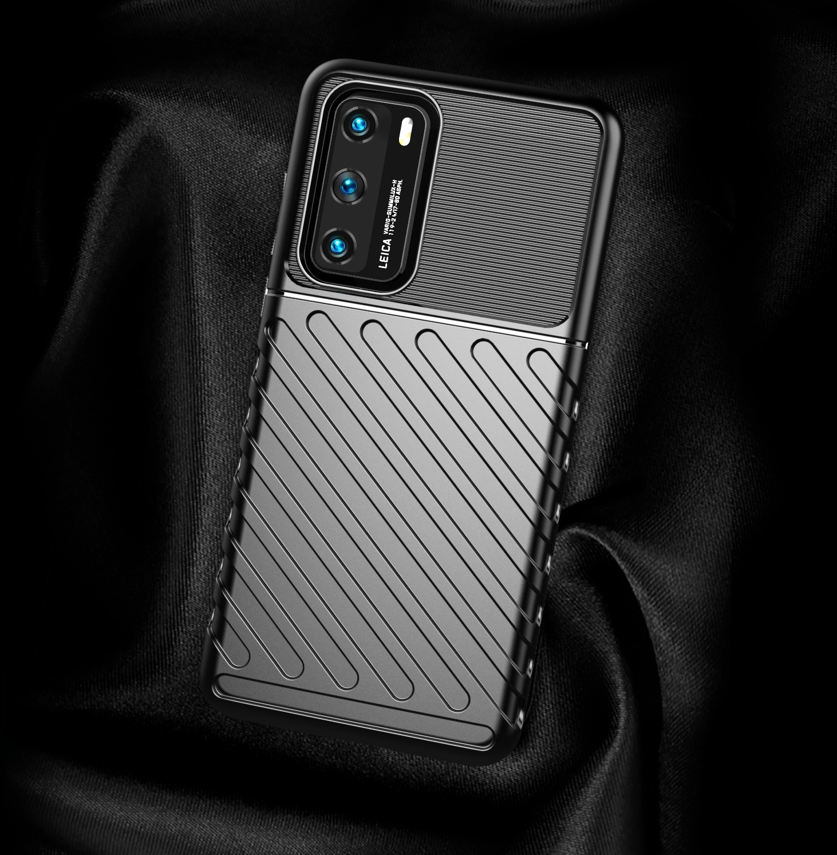 Черный чехол для Huawei P40 с текстурным рисунком, серии Onyx от Caseport