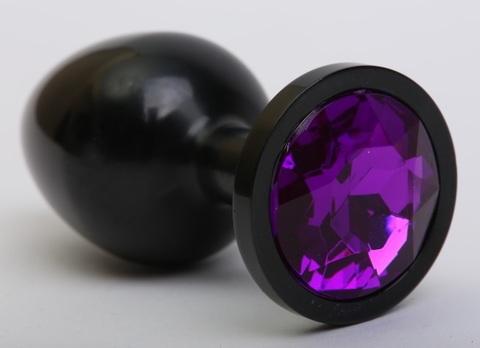 Анальная пробка металл черная с фиолетовым стразом 8,2х3,5см 47411-5MM