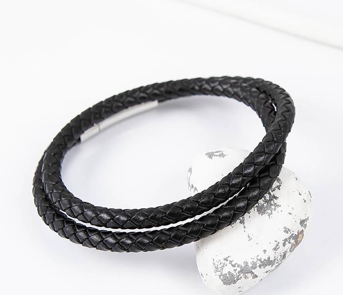 BM513-1 Мужской браслет двойной шнур черного цвета (21 см) фото 04