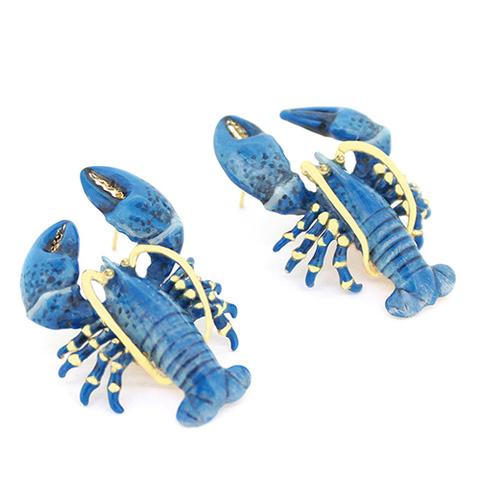Серьги Лобстер синий